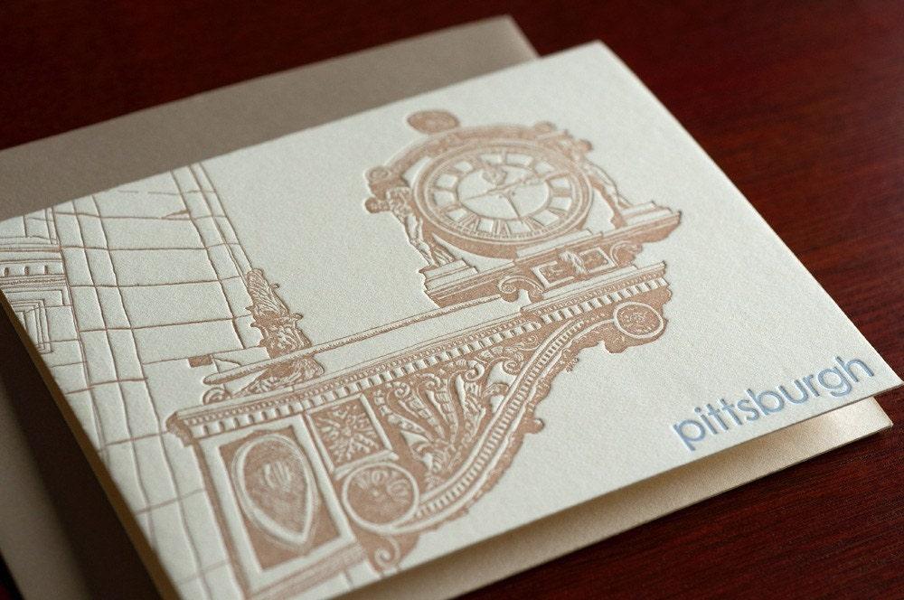 Kaufmann's Clock - Pittsburgh Letterpress Notecard