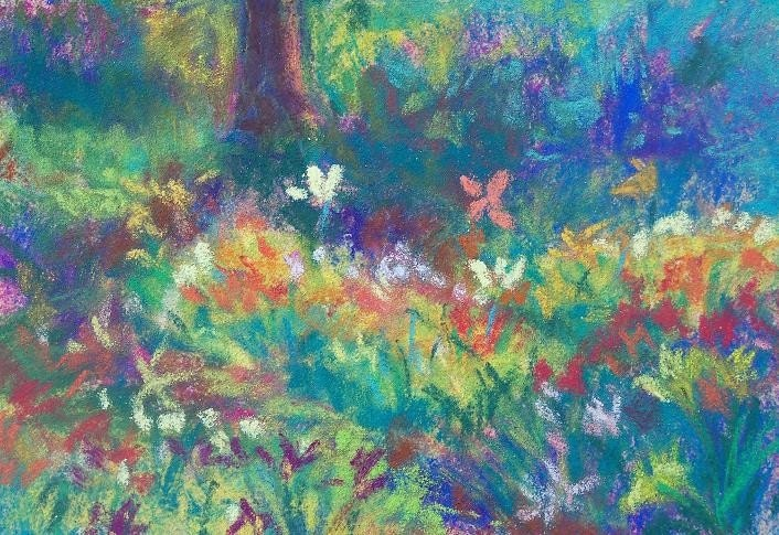 Field of Lillies, Original 3.5x5 Pastel Painting