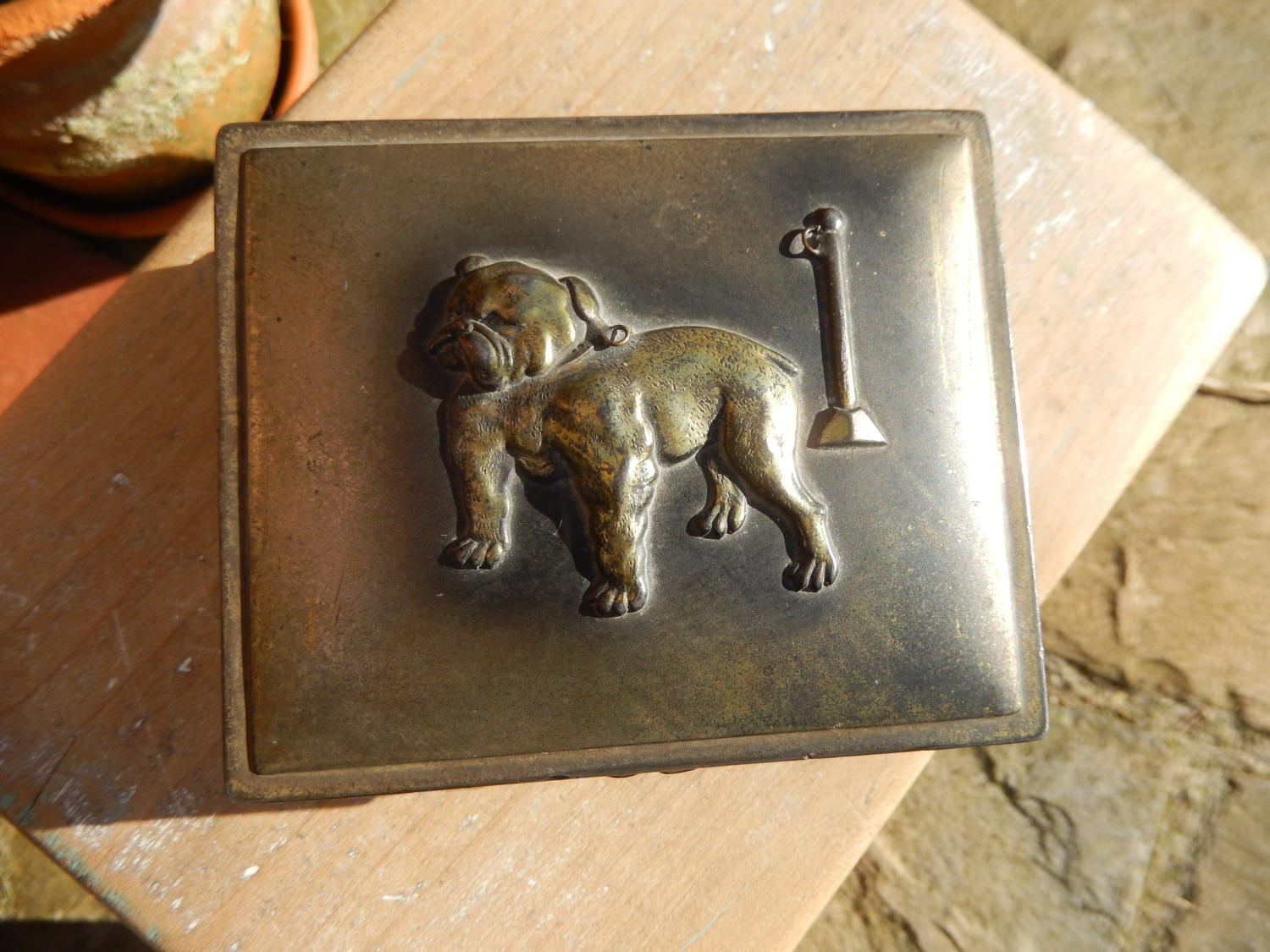 Art Deco British Bulldog Brass Box Bulldog 1930s Brass Trinket Box Art Deco Metal Box Jewellery Box Wood Interior