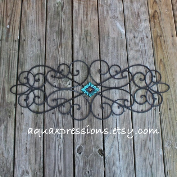 Distressed Metal Wall Decor : Metal wall decor turquoise red distressed by aquaxpressions