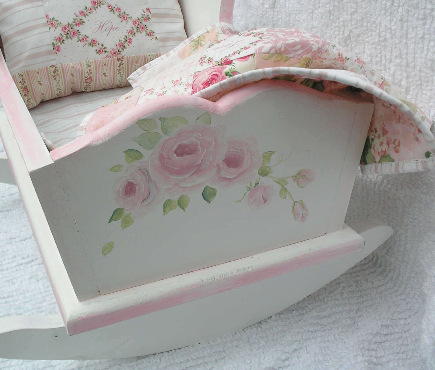 Doll Cradle Hand Painted With Pink Roses By Upcyclesisters