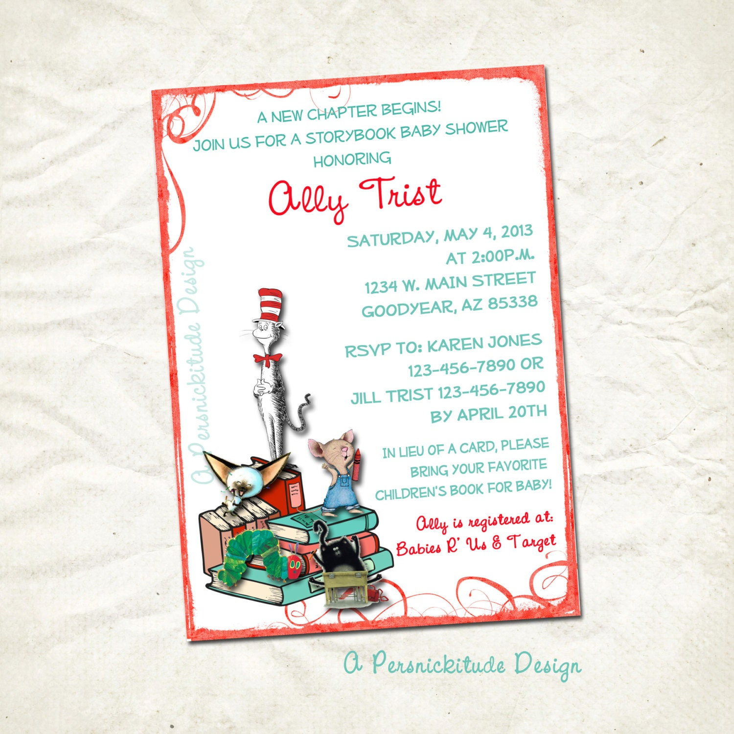 storybook baby shower invitation printable file by persnickitude