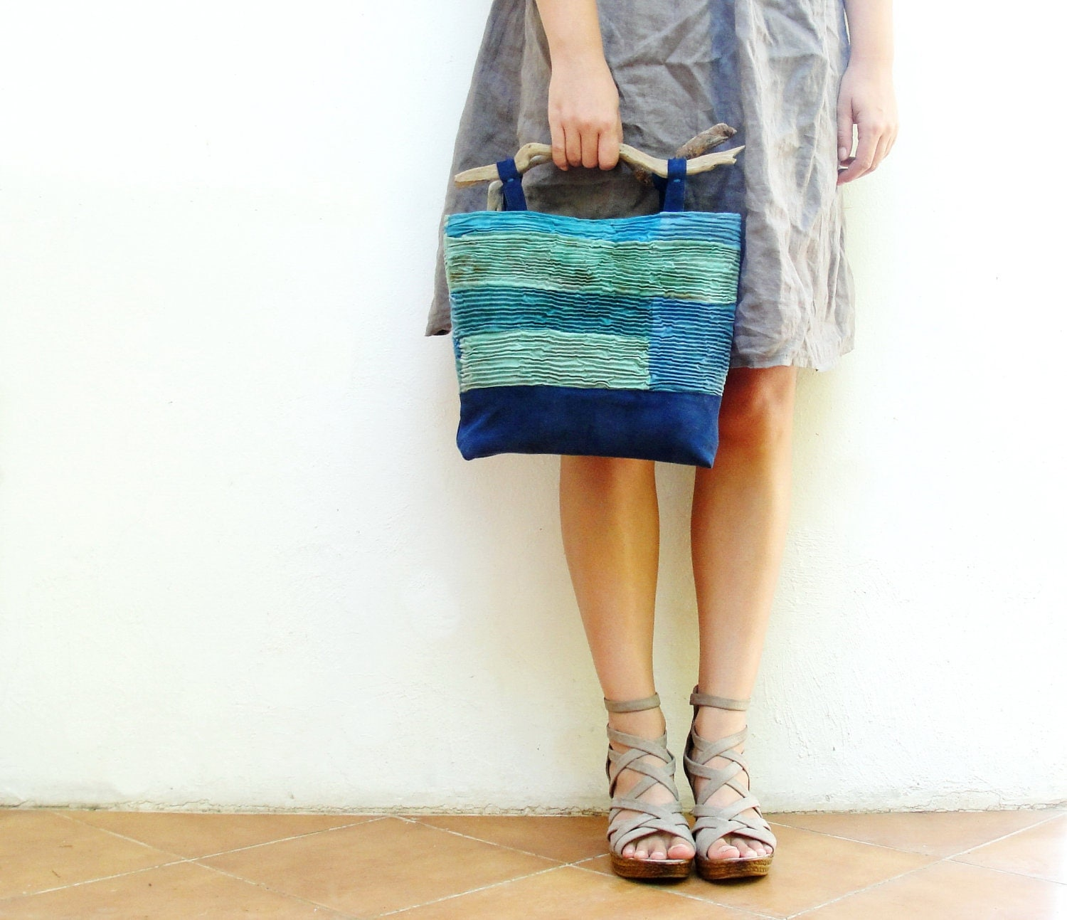 Ocean Breeze Bag - Smocked Hand Dyed Linen with Driftwood Handles and Leather details - StarBags