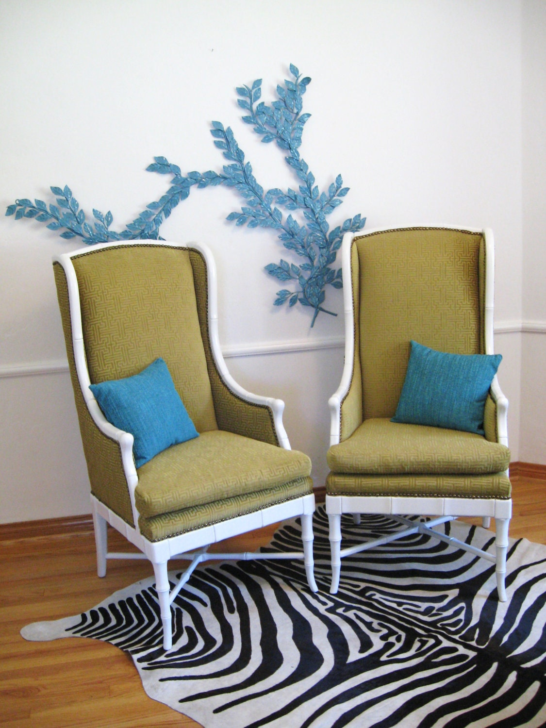 Mid Century MODERN Vintage HOLLYWOOD REGENCY White Faux Bamboo Wingback Chairs