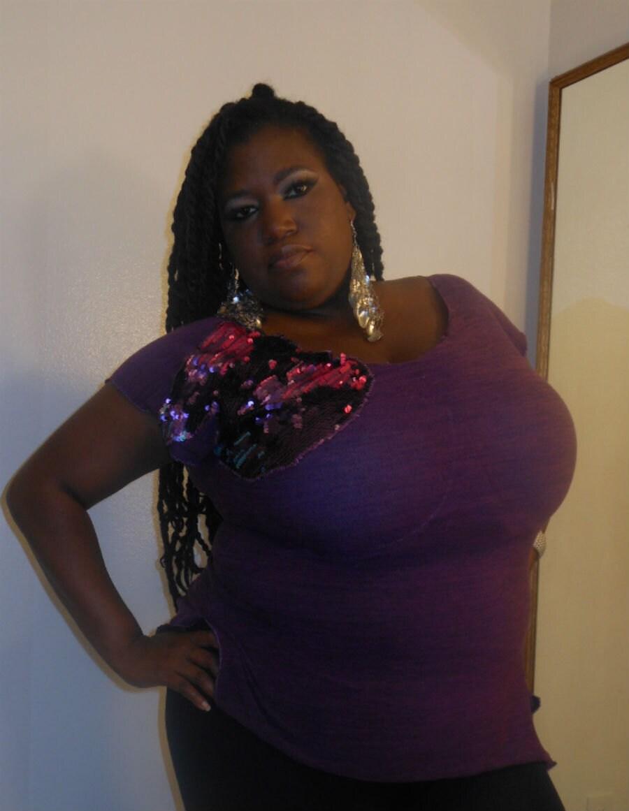 Magic - Posh N Petals Knit Purple Ombre Sequin  Embellished Blouse - XL-1 X  - Plus Size