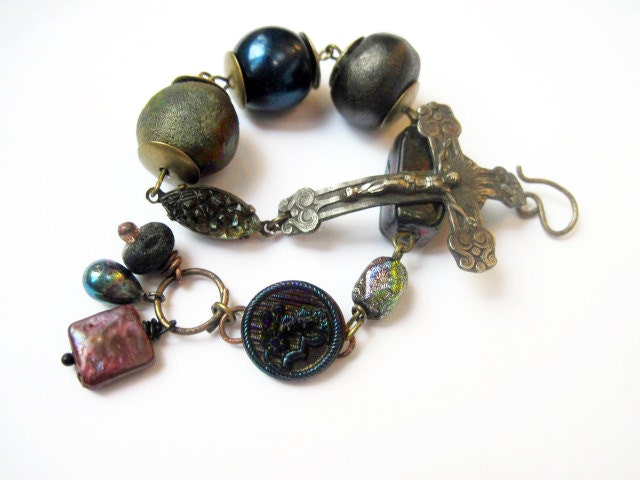 The Human Night. Cosmic Rustic Dark Assemblage Bracelet with Sterling Crucifix, Iridescents and Raku Art Beads.