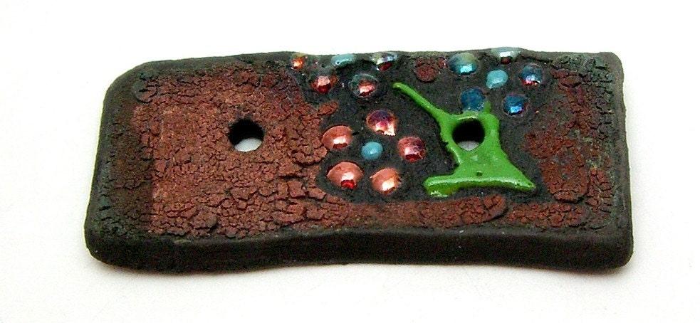 Flowers Rectangle Raku Ceramic Button Raku Jewelry Supplies Handmade by MAKUstudio