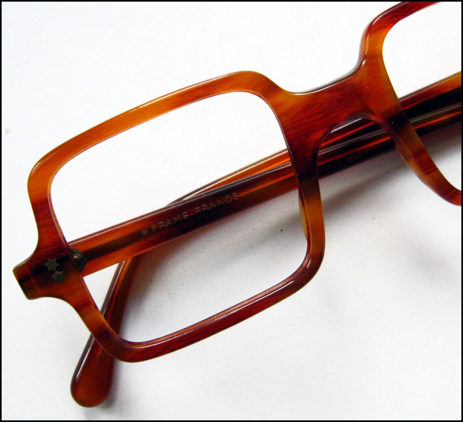 Eyeglass Frames Square : 1960s SQUARE Eyeglass Frames in AMBER by BackThennishVintage