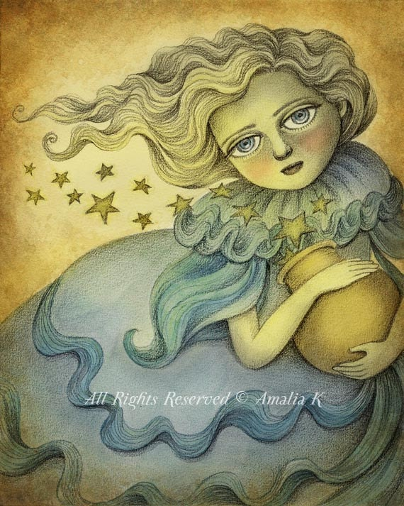 Print of Original Painting, Reproduction Digital Print, Fantasy Illustration - Andromeda the Stars Keeper by Amalia K - 8x10 inches