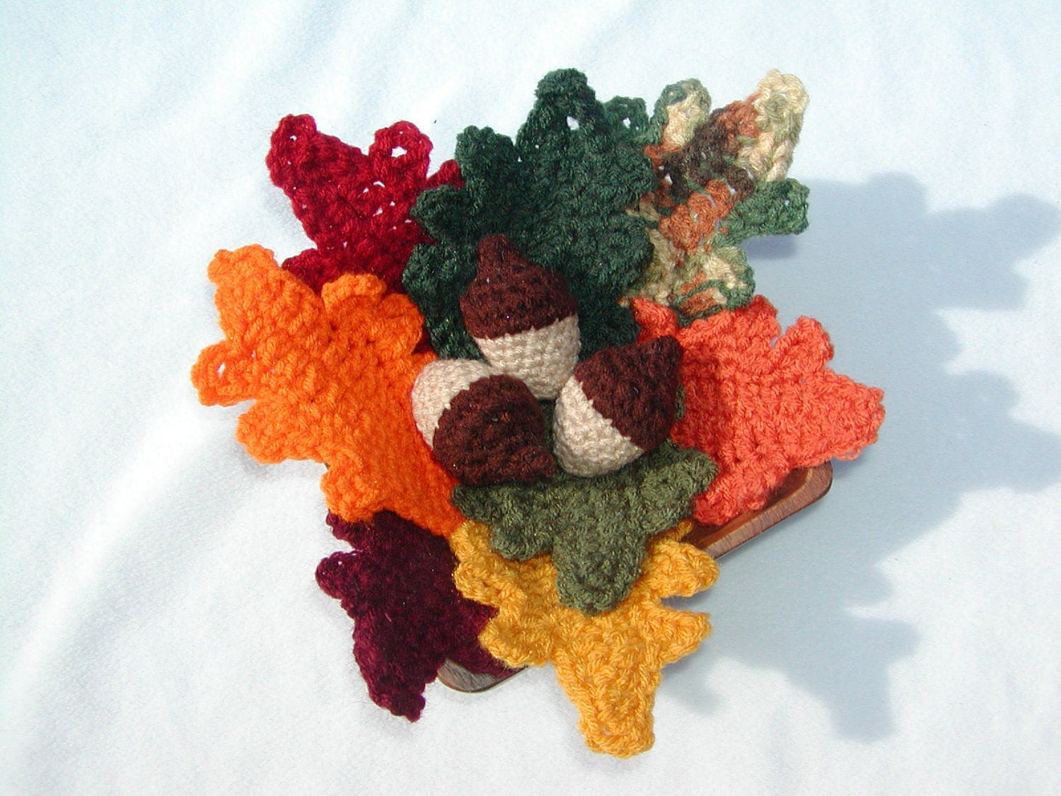 Crocheted Fall Leaves and Acorn Group - honeybee69