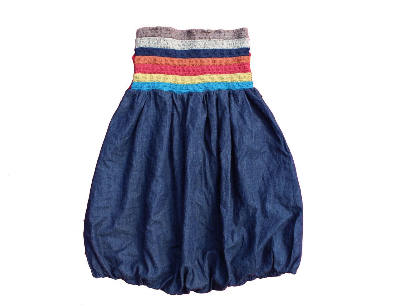 Vintage Denim Dress  Bandeau  Bubble Dress  Short Mini  Rainbow Multicoloured stripe boho gypsy seventies