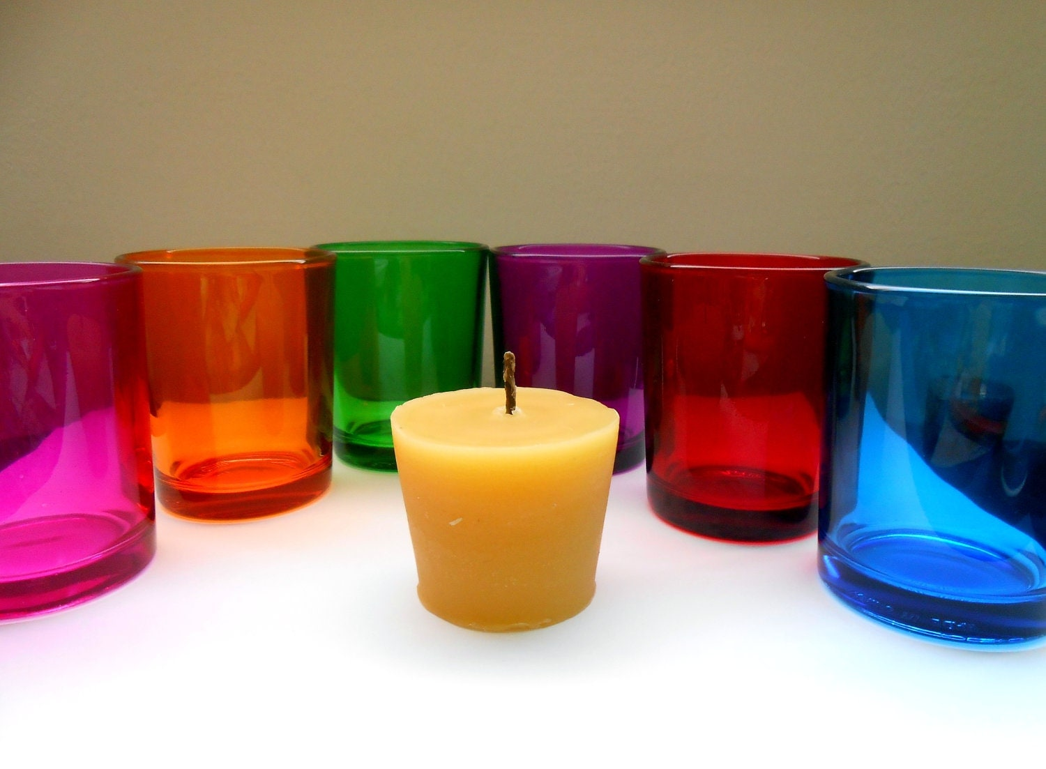 Pure Natural Beeswax Votive Candles with colorful holders