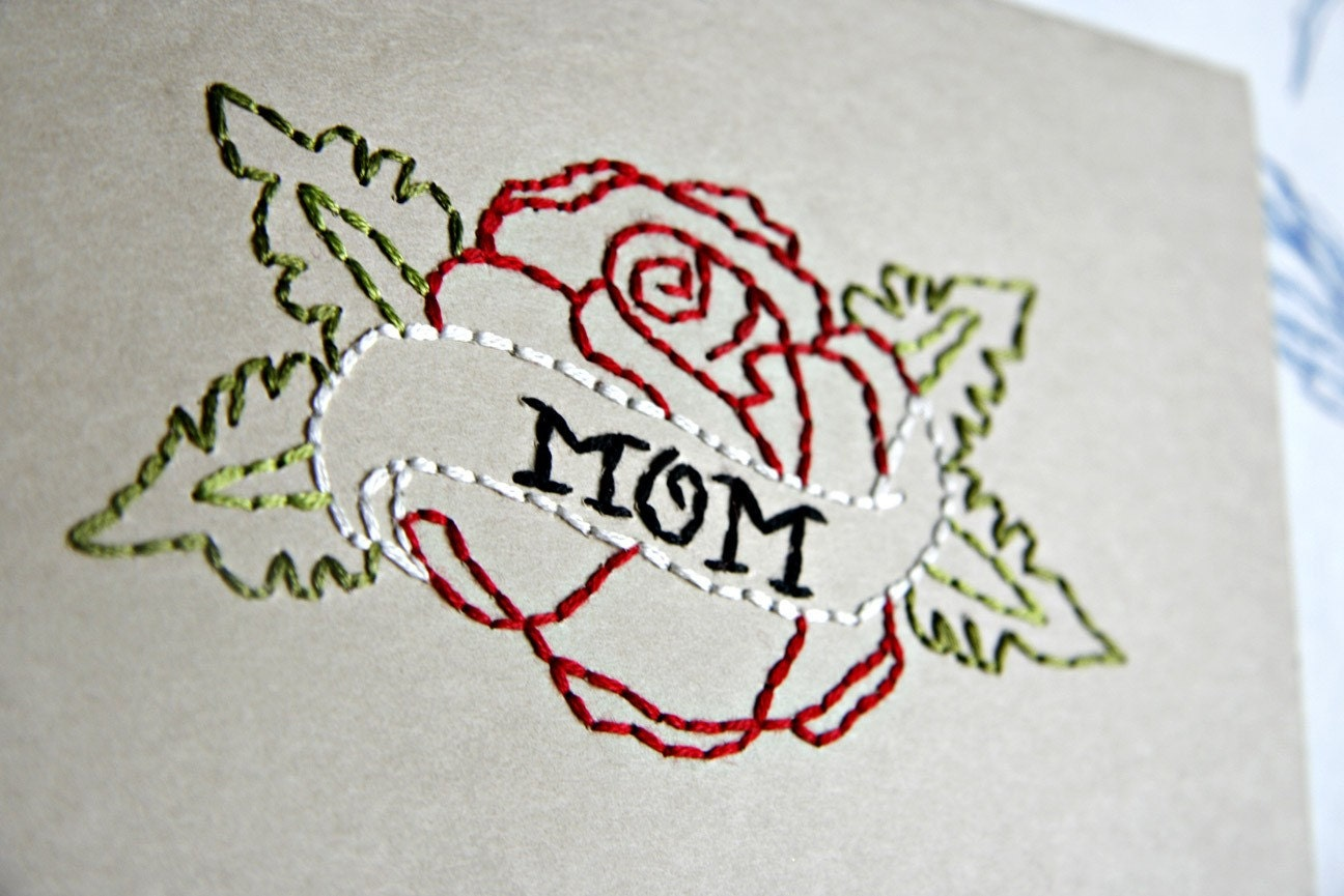 "This pretty little classic tattoo ""MOM"" rose design card will reflect just"
