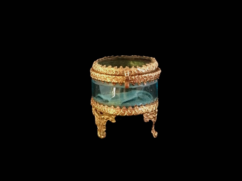 Antique Ormolu  Blue Glass Jewellery Casket Engagement Wedding Ring Display Blue Silk Pillow Romantic Victorian Keepsake Token of Love