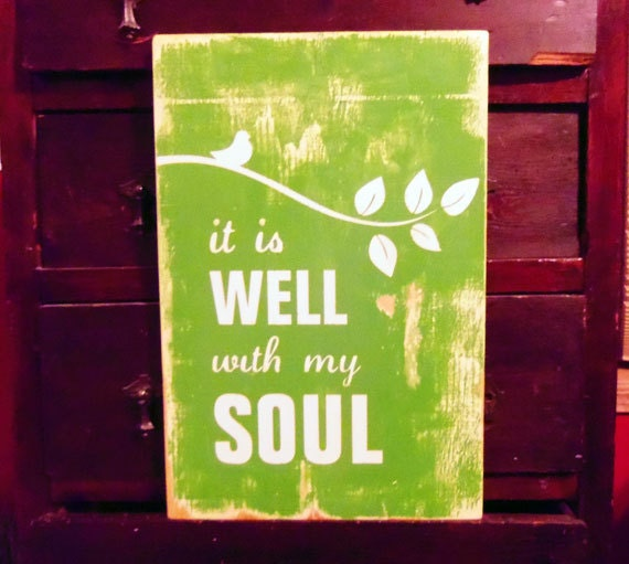 Typography Wall Art- It Is Well With My Soul Wood Sign