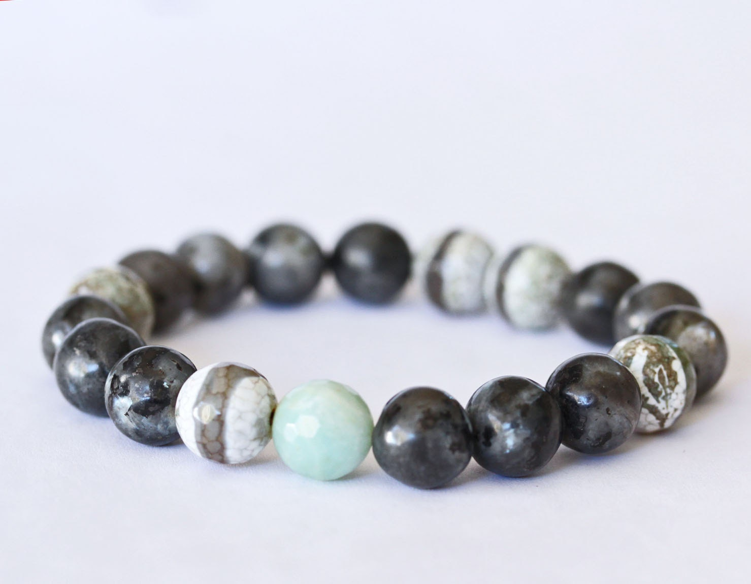 Larvikite Black Labradorite Bracelet. Amazonite Focal Bead. Linen Blue Grey Tibetan Agate Stripe. Stretch stacking modern minimalist Jewelry - YuliyasAddiction