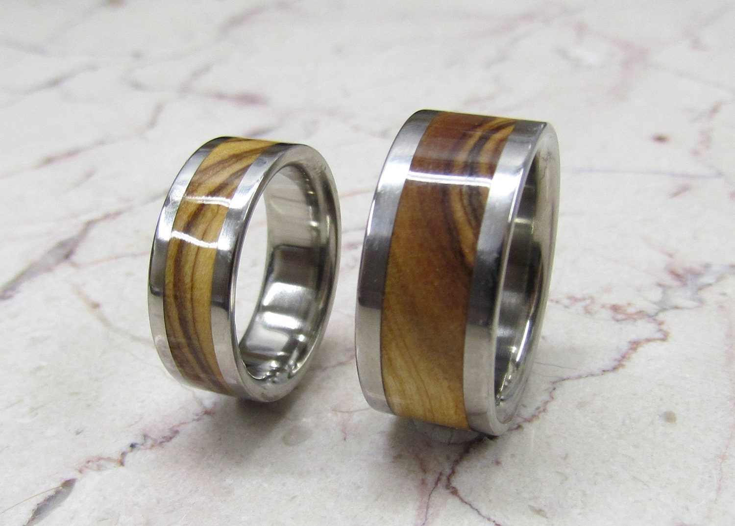 Titanium Wooden Wedding Bands Set Of TWO Custom Made By Usajewelry