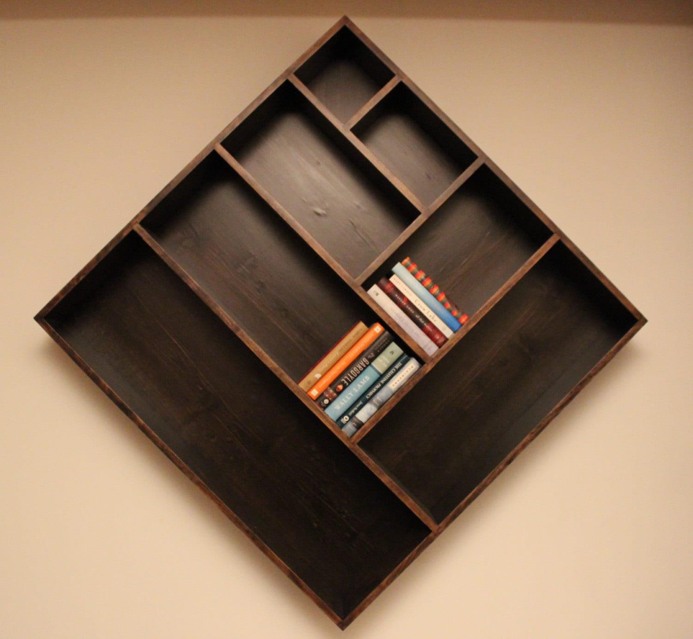Diagonal Wallhanging Solid Cherry Bookshelf By Tattoofunctionalart