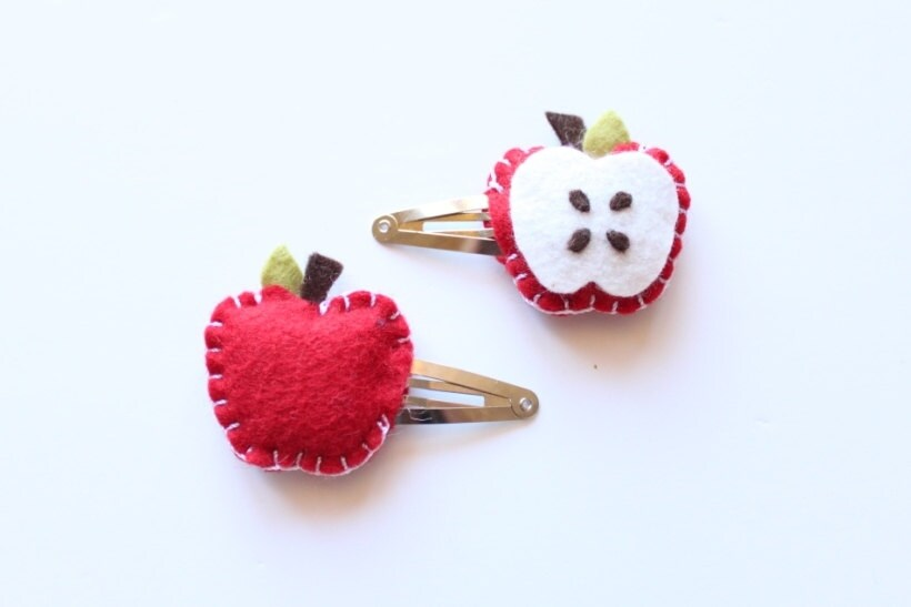 Red Apple Felt Hair Snap Clip - Pair of Plush Apple Snap Clips - Hair Accesories - Wool Felt Hair Clip - Back to School - iheartbow
