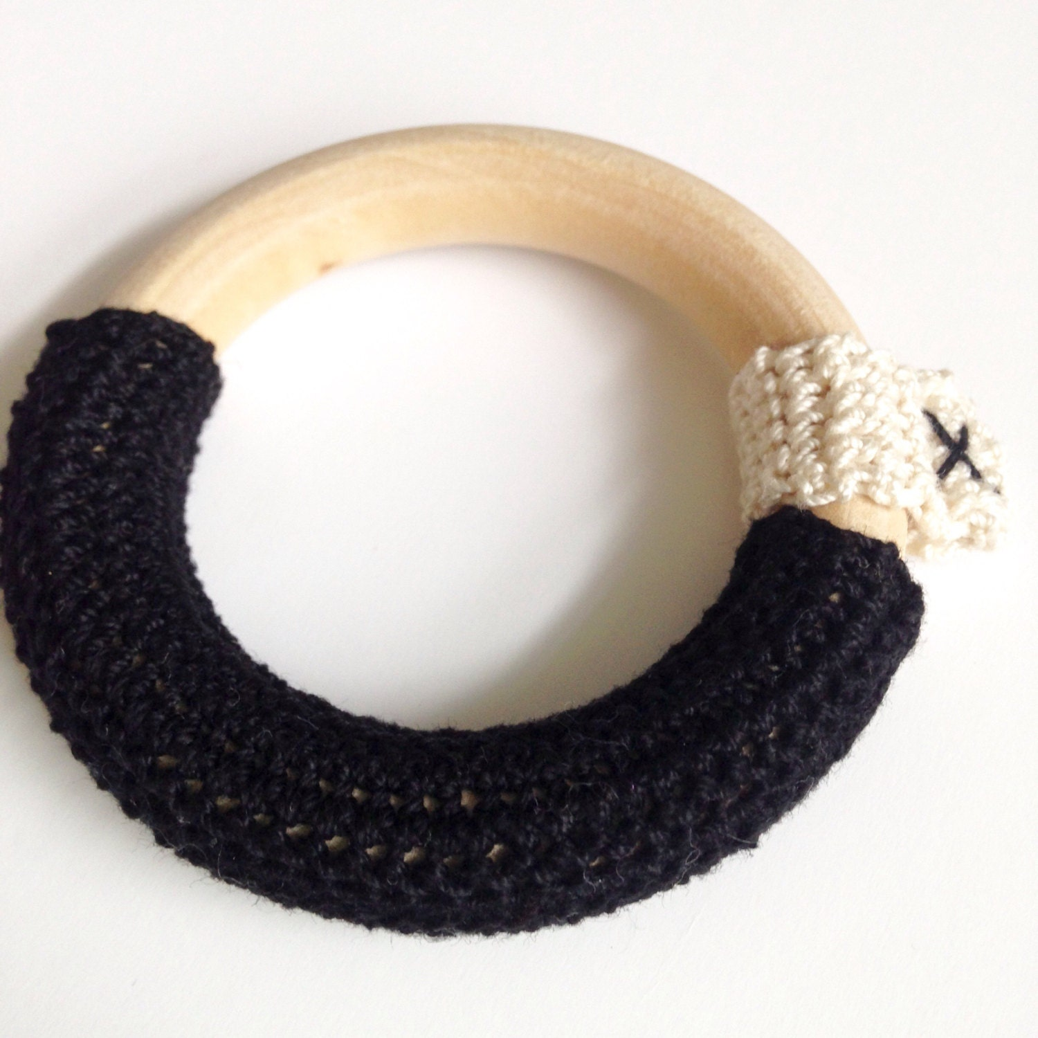 Teething ring crochet teether in black