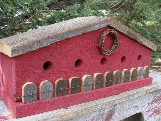Rustic, Red, Birdhouse, Farmhouse, Barnwood Fence