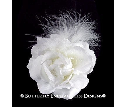 White Rose Flower Feather Bridal Hair Clip