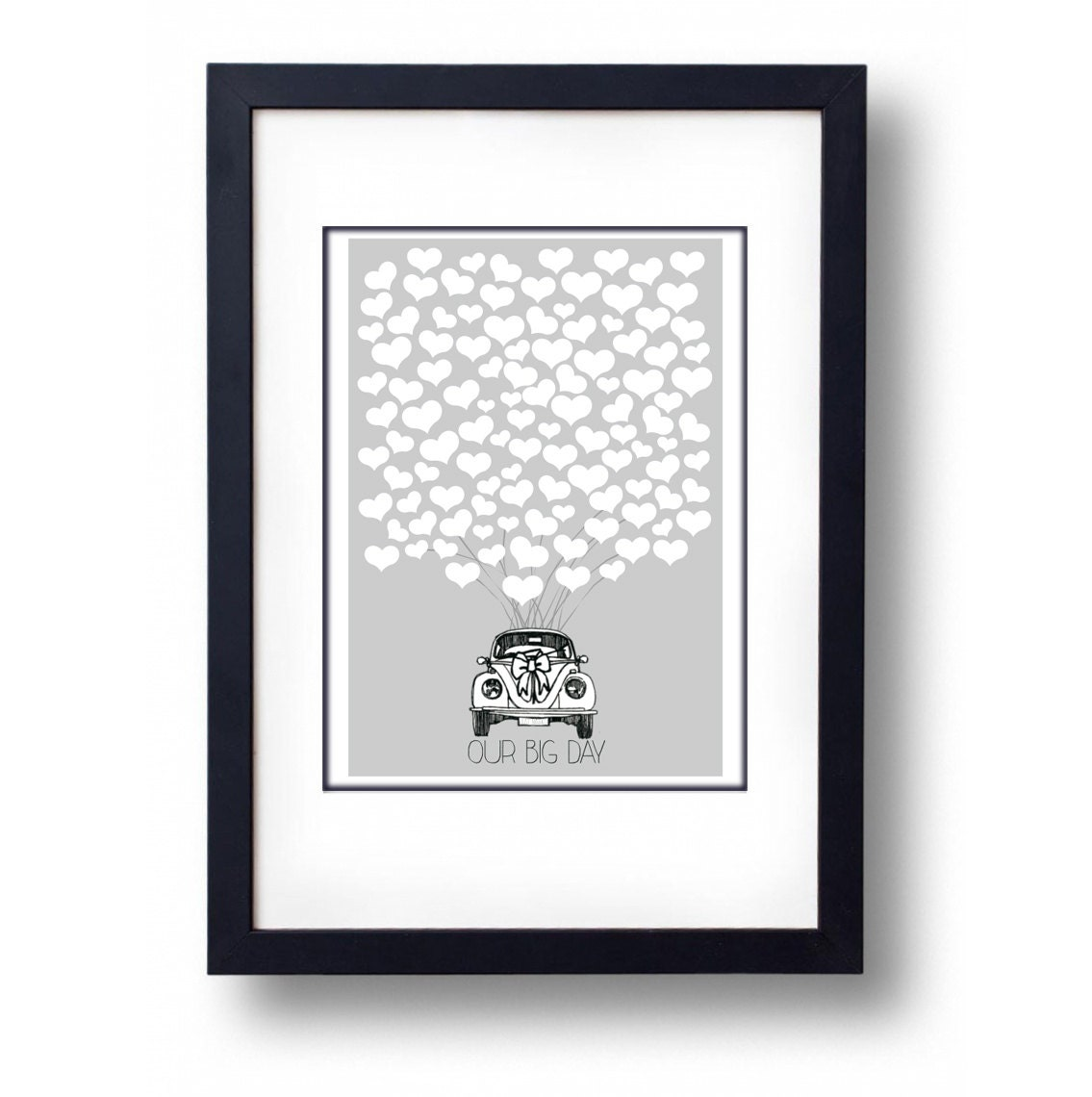 Personalised VW Love Bug Front View Heart Wedding Guest Book Alternative  A2 Print