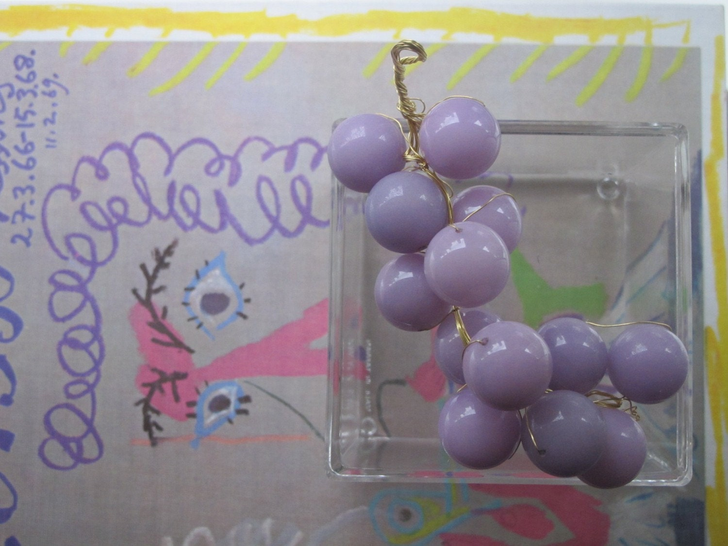 Lavender Jade Grapes and Lucite Box