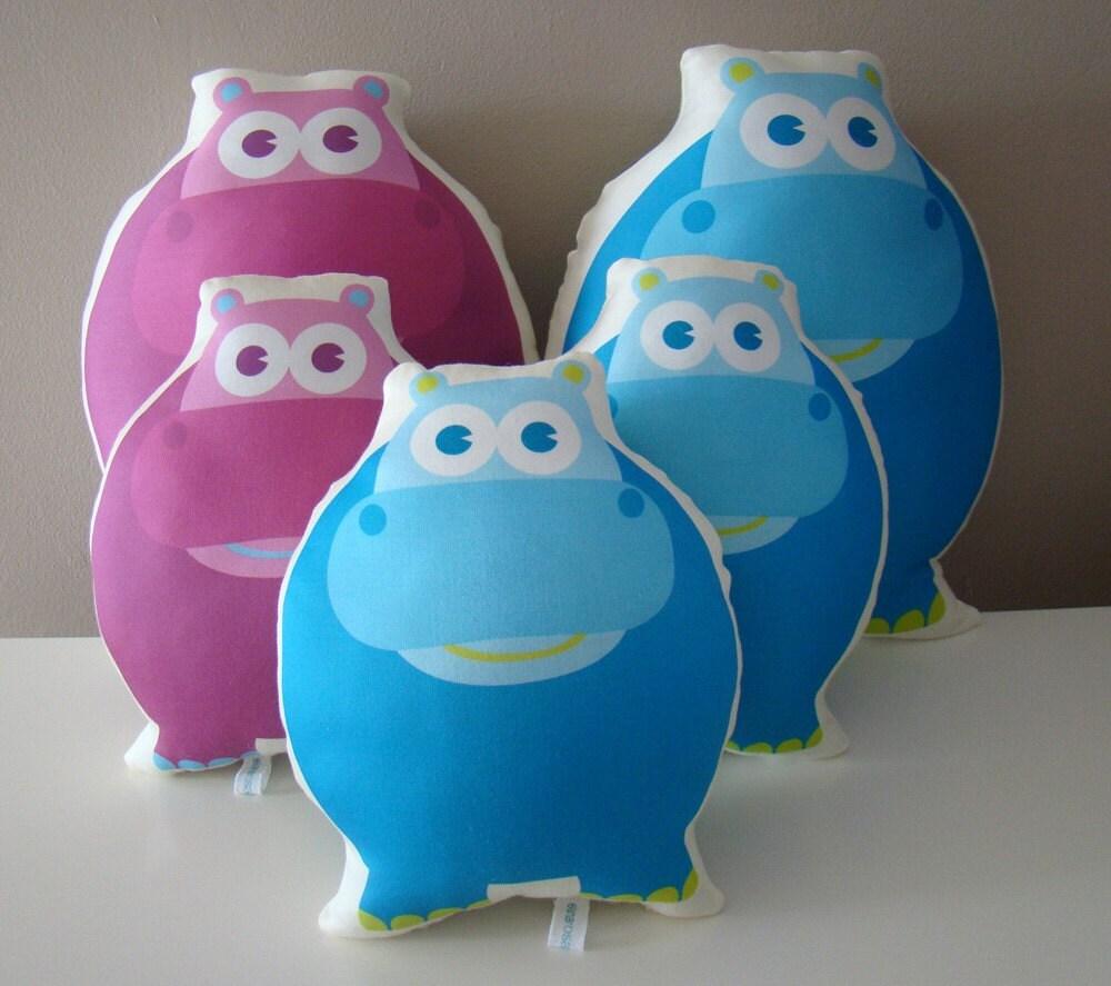 Organic Decorative Hippo Pillow Friend -pink purple - perfect for nursery