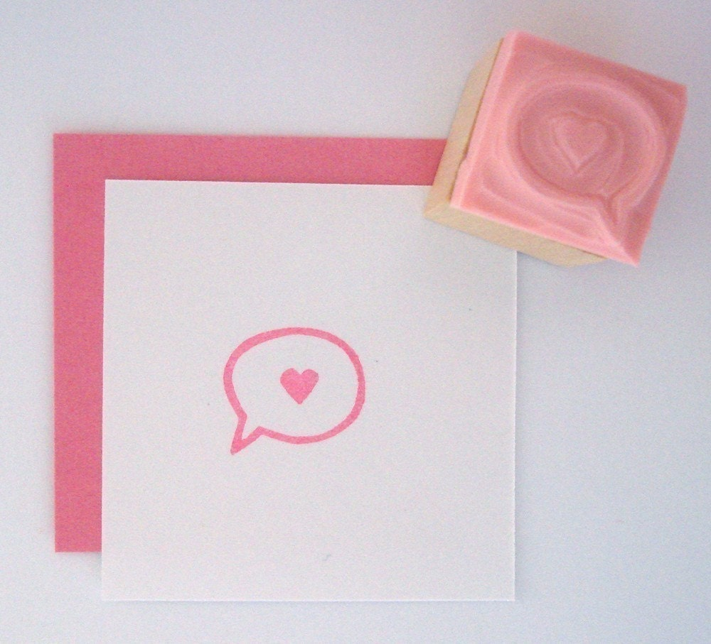 MINI Love Callout Hand Carved Rubber Stamp