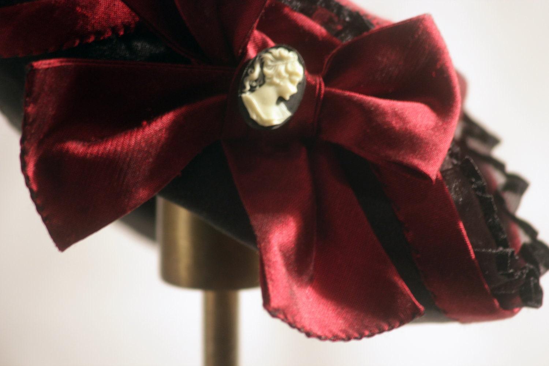 Red Silk Mini Tricorn Hat