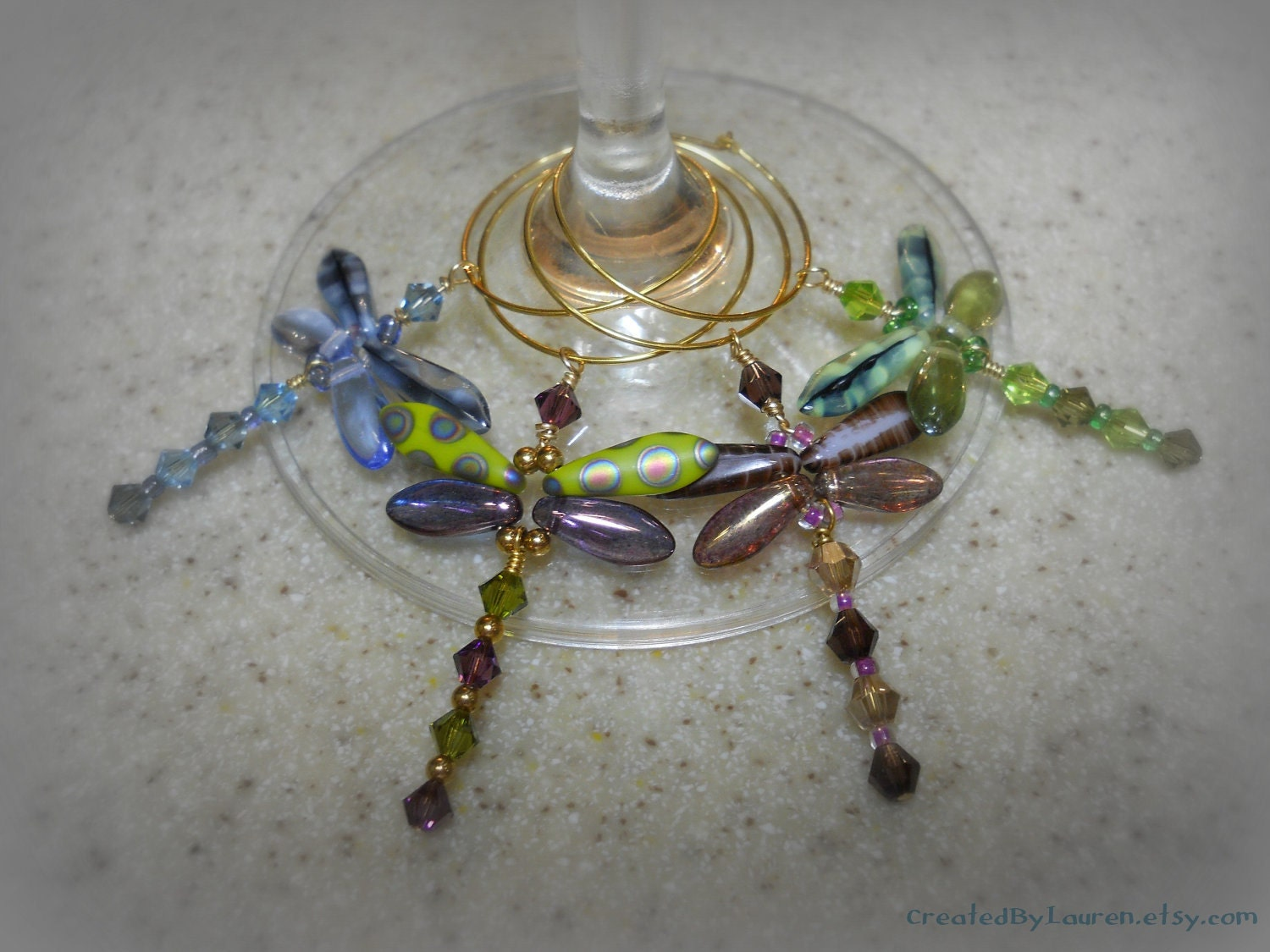 dragonfly wine glass charms four by createdbylauren on etsy