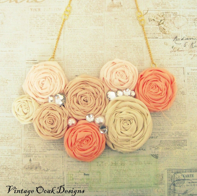 Coral Ombré Statement Necklace, Rosette Statment Necklace, Coral & Gold Necklace, Rolled Rosetted Bib Necklace, Summer Fashion - VintageOoakDesigns