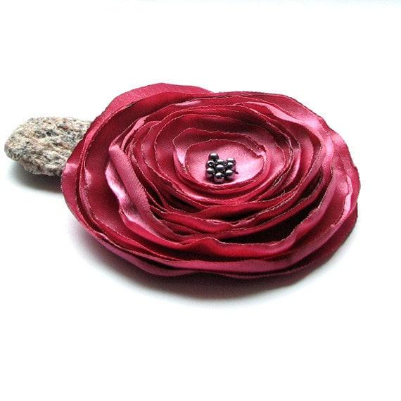 Pink Flower - fabric flower brooch -  handmade brooch - pink satin brooch - albado