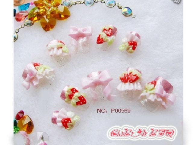 Lovely Jordgubbar Nail Art uppsättning av 10 (P00569)