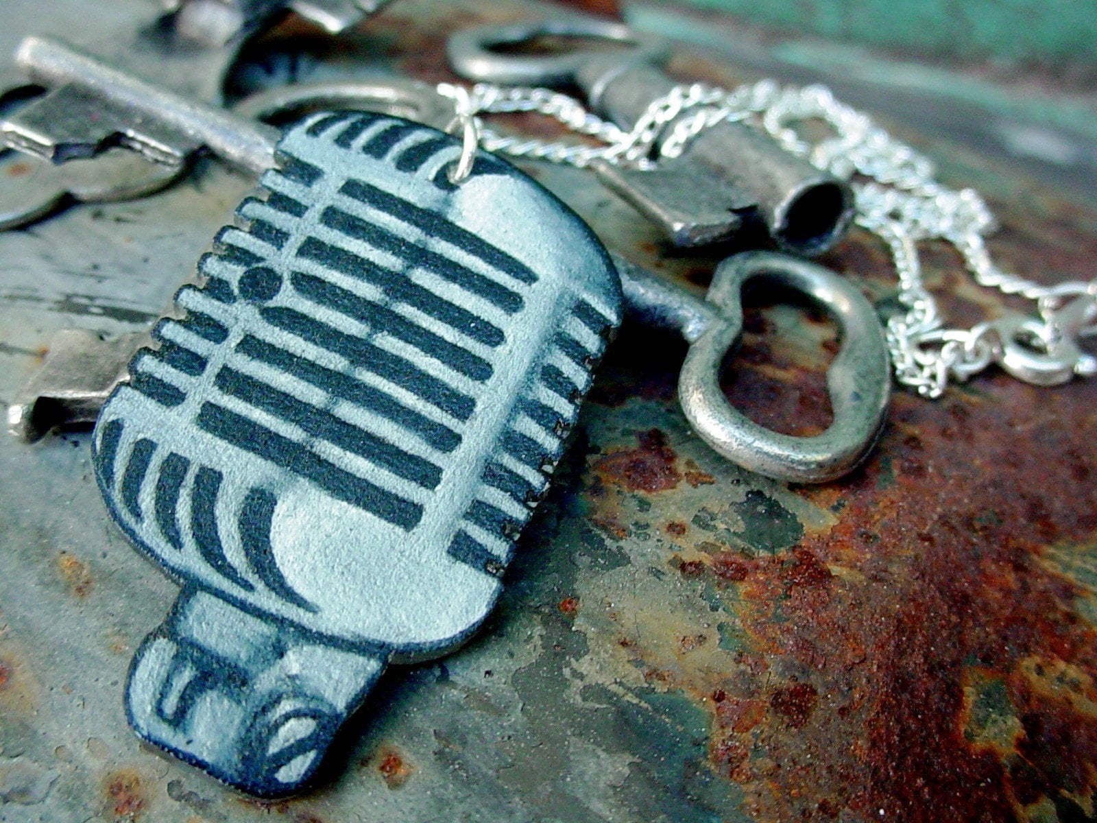 classic vintage microphone  necklace
