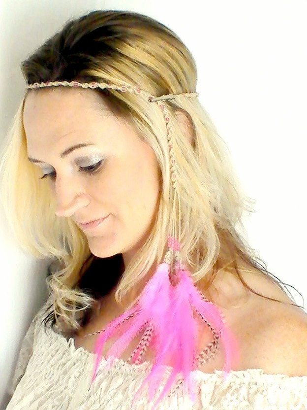 Hippie Headband Feather Extensions Pink Grizzly Braided Hemp