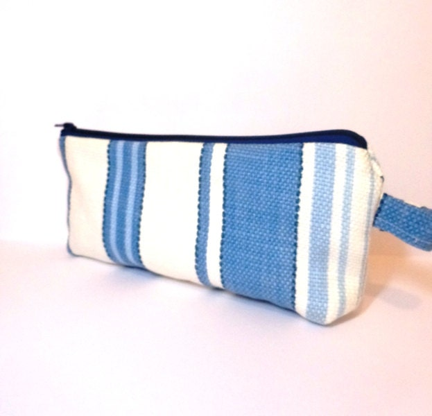 Fabric Zipper Pouch Clutch Bag Cosmetic Pouch Pencil Case Blue Stripes - handjstarcreations