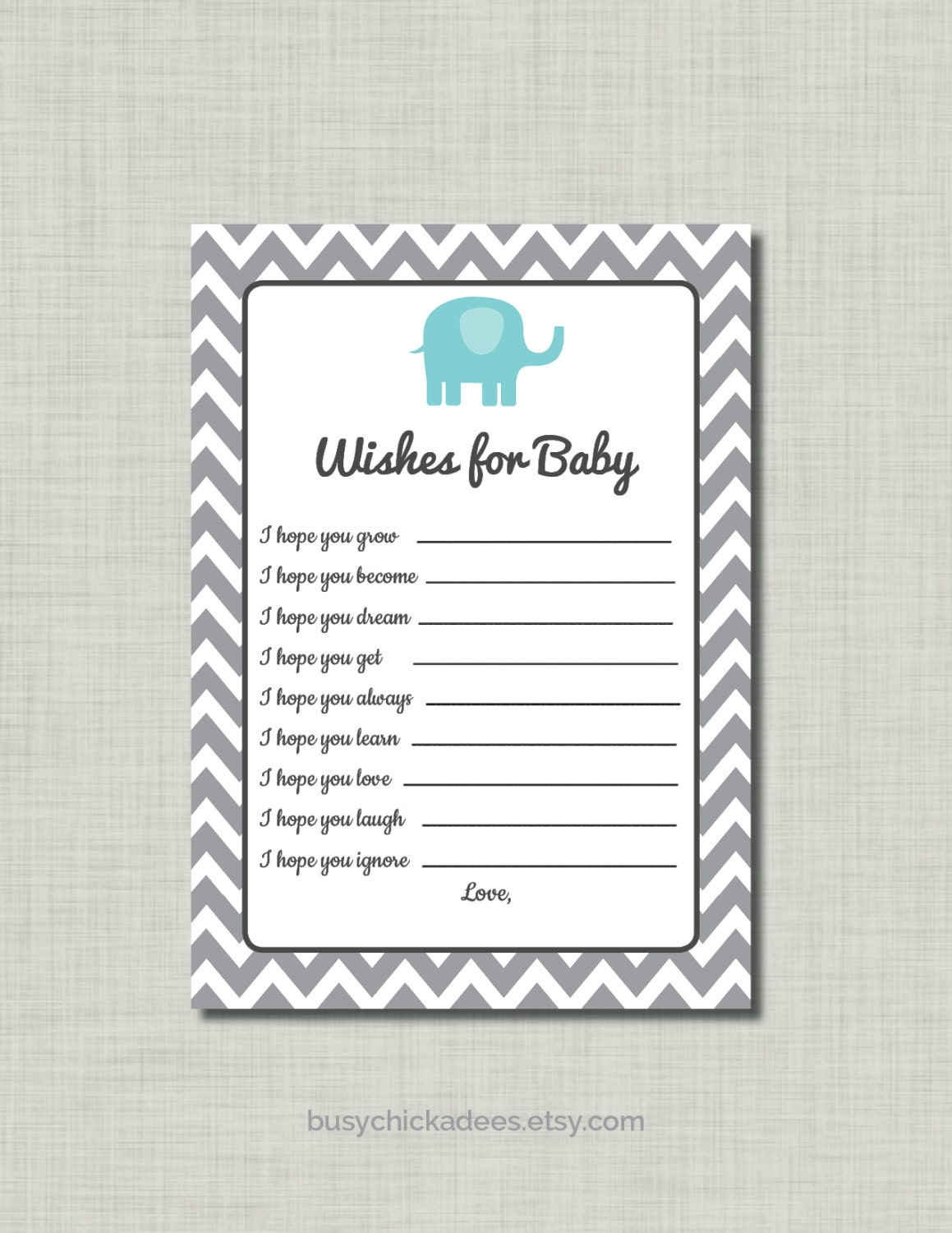 Elephant advice card on etsy a global handmade and for Wishes for baby template printable