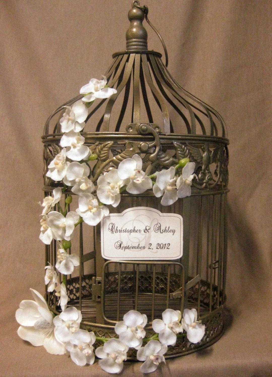 Items similar to gold bird cage wedding card box vintage