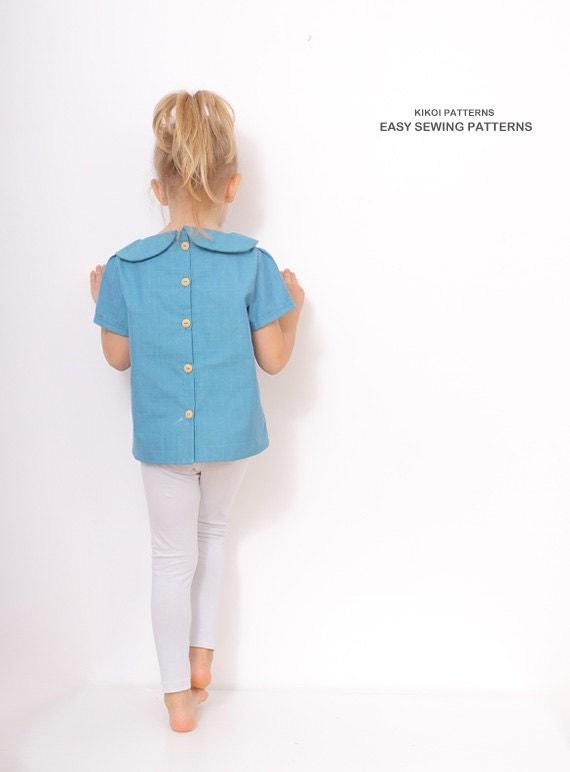 Peter pan collar blouse pattern girls blouse by amelieclothing for Peter pan shirt pattern
