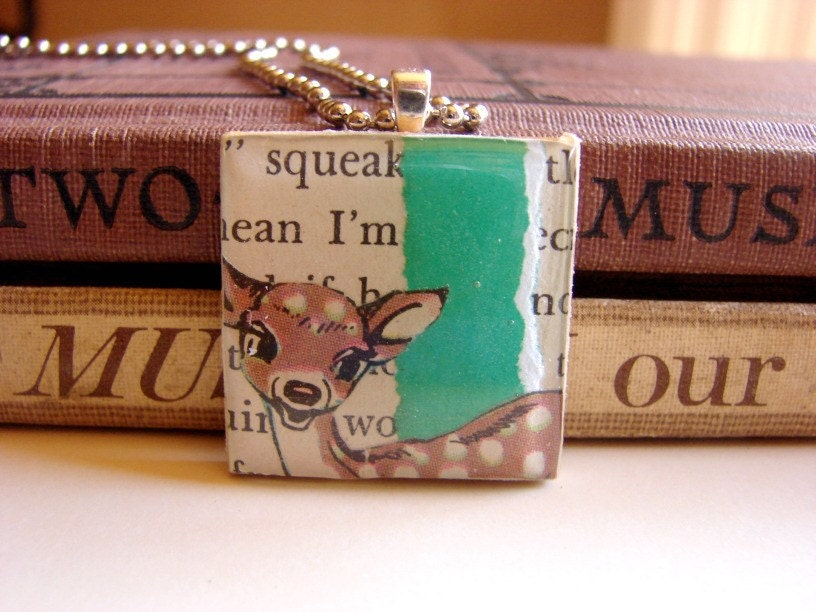 Kawaii Deer- A Big Wood and Resin Collage Picture Pendant- Pendant Only- handmade