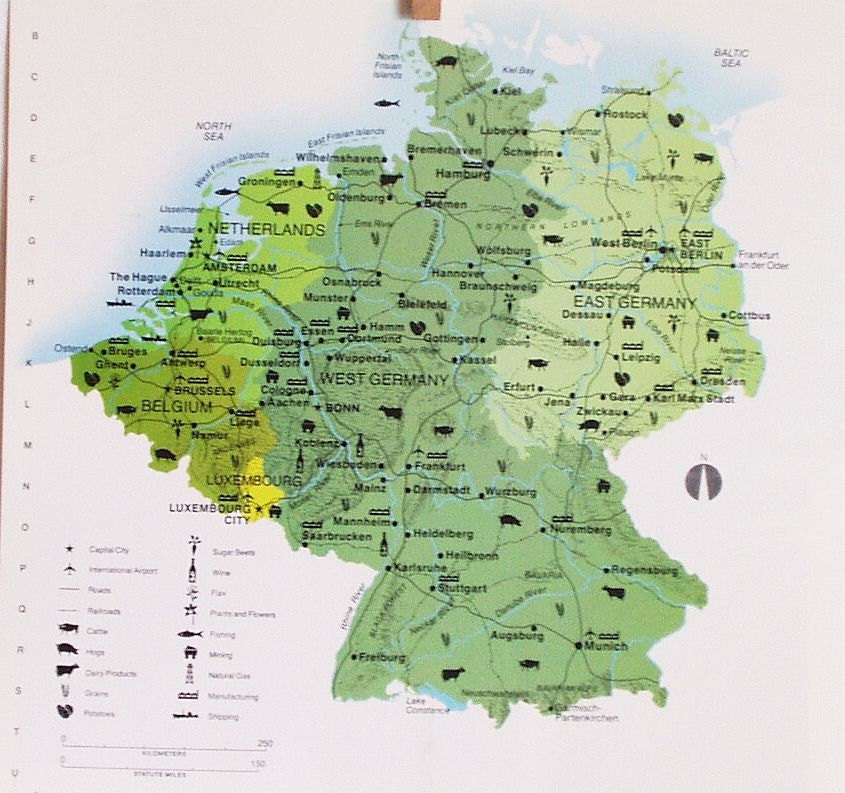West And East Germany Map – Map of West Germany with Cities