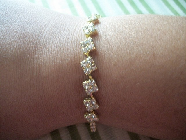 Gold Rhinestone Ribbon Bracelet With Diamond Shaped Detail