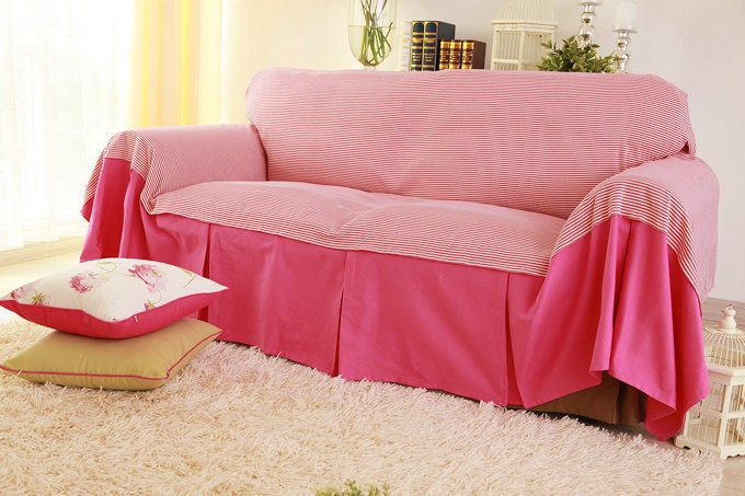 Items Similar To Pinky Pinstripe Hot Pink Sofa Slipcover Custom Sweet Cotton Loveseat