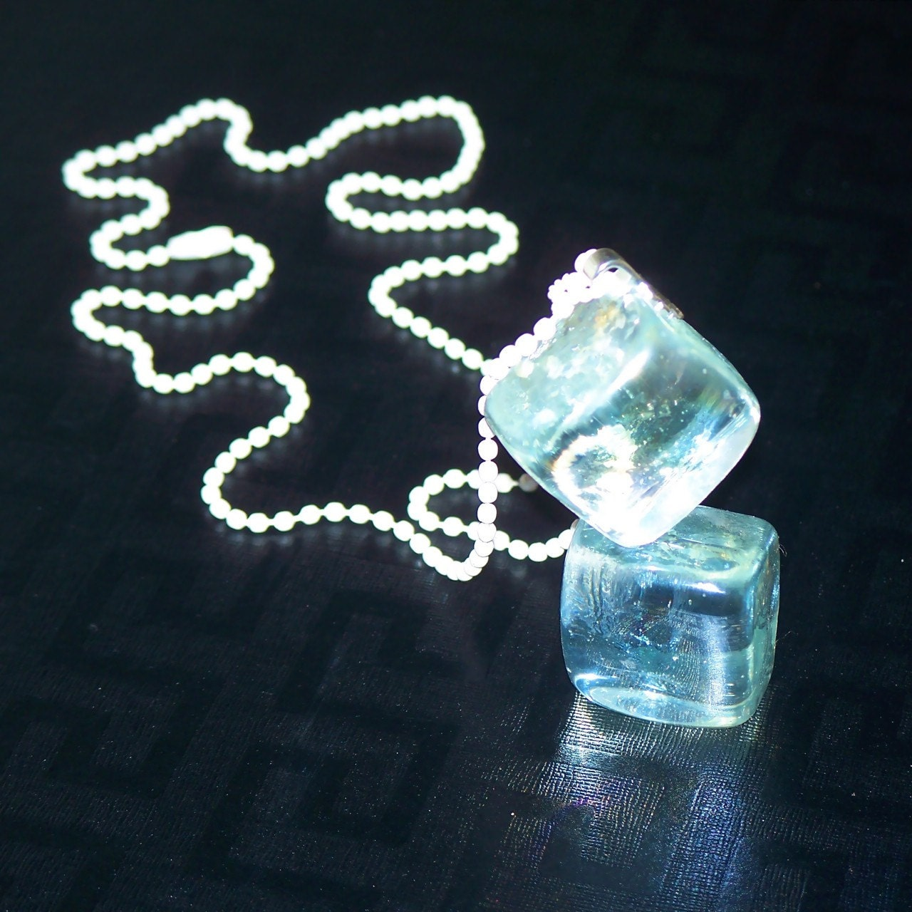 THAT'S COLD Twin Glass Ice Cube Necklace, White Chain OOAK