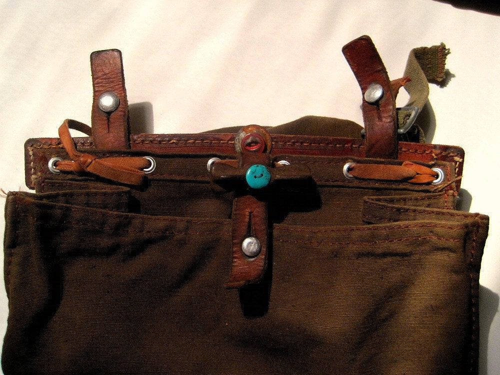 Vintage Swiss Bag with metal, turquoise button and old window latch-1984