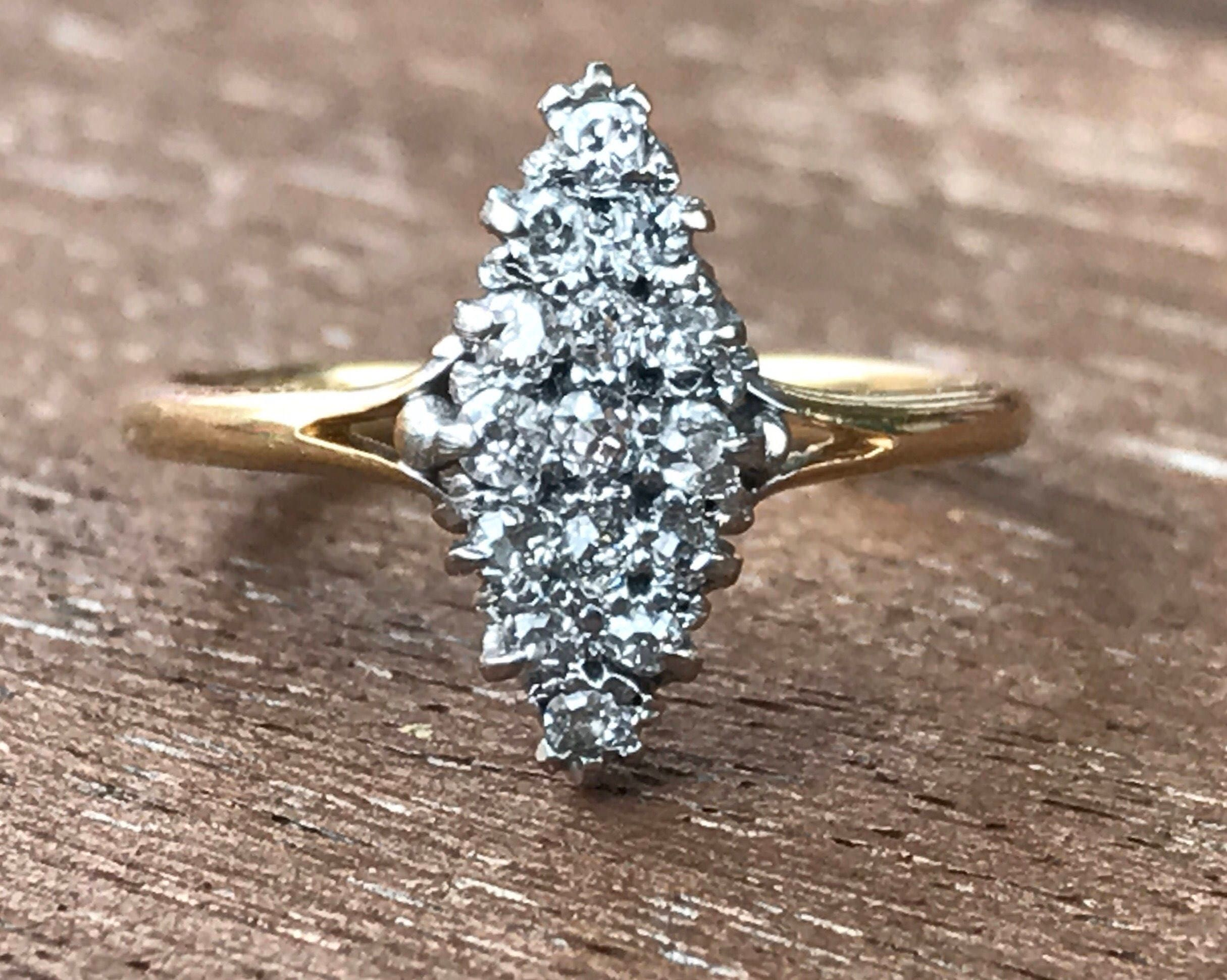 Antique Victorian Marquise Cluster Diamond Ring 18ct18K gold Size 5 Size J