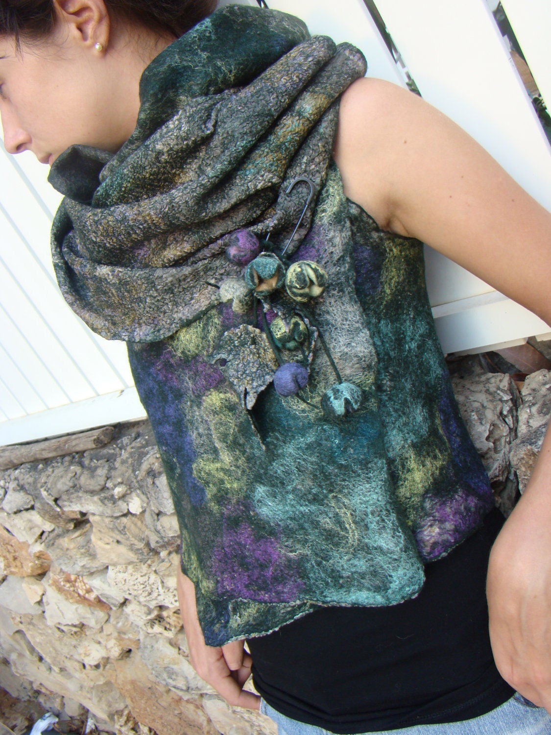 Nuno Felted Vest / Wrap with Brooch by FeltOx on Etsy from etsy.com