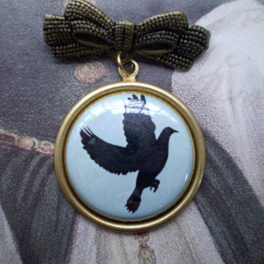 Fly Away- Bird Silhouette Bow Brooch